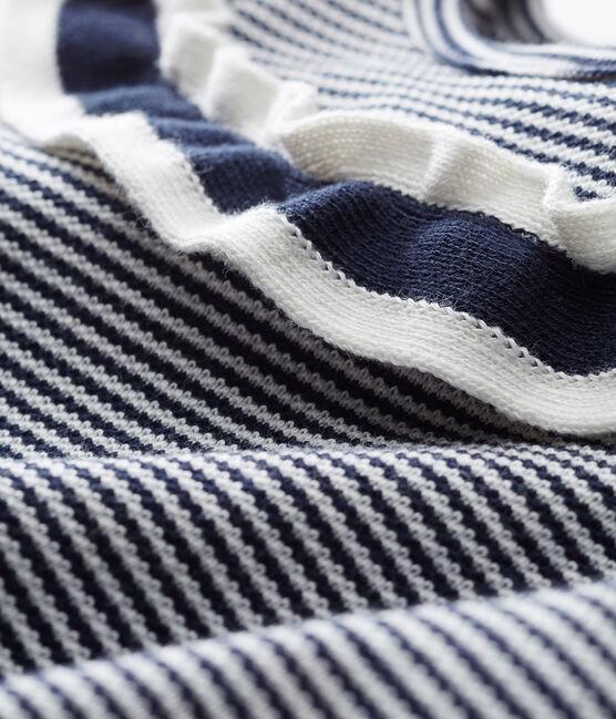 Baby girls' pinstriped blouse Smoking blue / Marshmallow Cn white