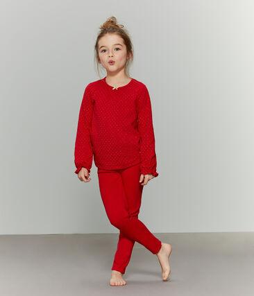 Girls' Tube Knit and Rib Knit Pyjamas Terkuit red / Or yellow