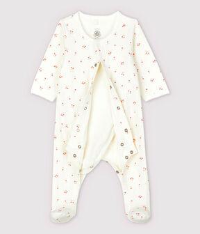 Babies' Cherry Pattern Organic Cotton Tube Knit Bodyjama Marshmallow white / Multico white