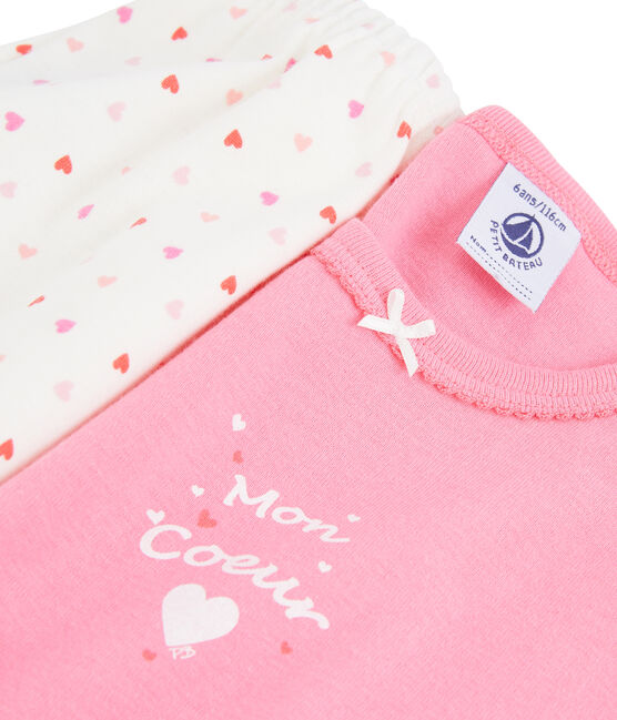 Girls' Ribbed Heart Pyjamas Petal pink / Multico white