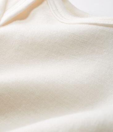 Babies' Long-Sleeved Bodysuit in Cotton/Wool Ecru Cn beige