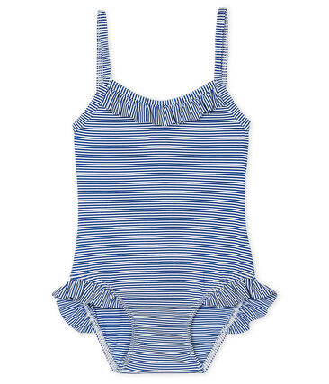 UPF 50+ swimsuit for baby girls Surf blue / Marshmallow white