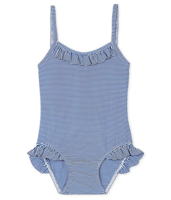 Baby Girls' UPF 50+ One-Piece Swimsuit Surf blue / Marshmallow white