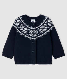 Baby's cardigan in 100% wool Smoking blue / Marshmallow white