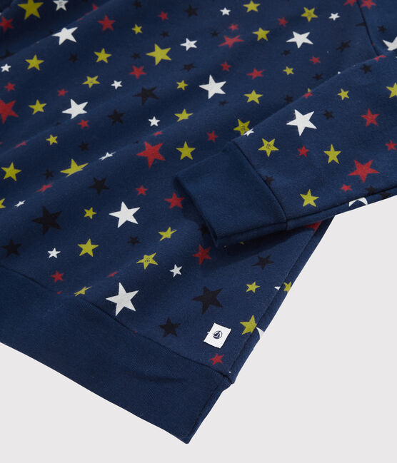 Children's Starry Fleece Pyjamas Medieval blue / Multico white