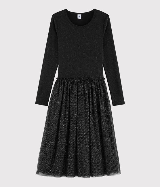 Women's dual fabric tulle dress BLACK/OR