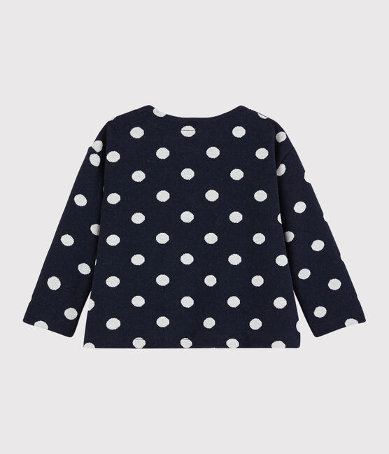 Baby girl's spotty cardigan Smoking blue / Marshmallow white