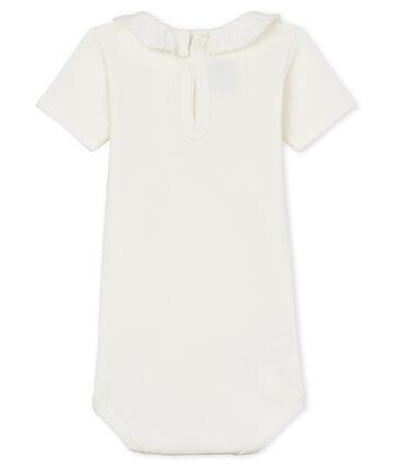Baby girls' bodysuit with ruff Marshmallow white