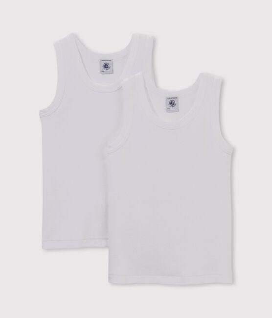 Boys' Plain White Vests - 2-Pack . set