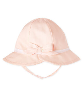 Twill wide-brimmed hat for baby girls Fleur pink