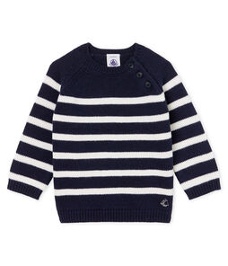 Baby Boys' Striped Wool/Cotton Pullover Smoking blue / Marshmallow white