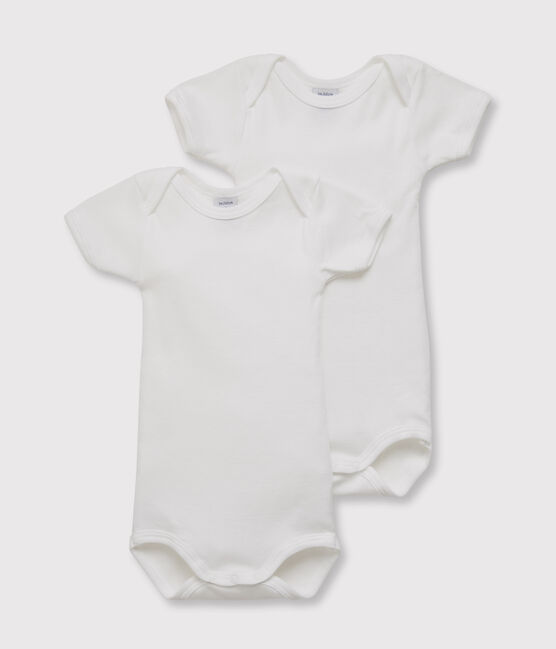 Set of 2 baby boys' short-sleeved white bodysuits . set