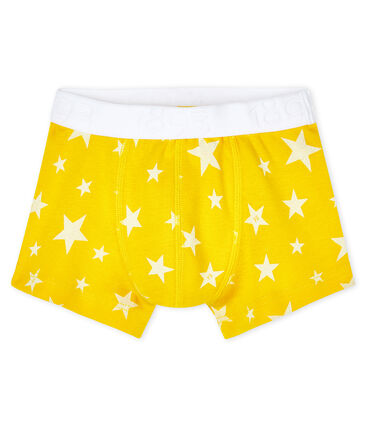 Boys' boxer shorts Honey yellow / Marshmallow white
