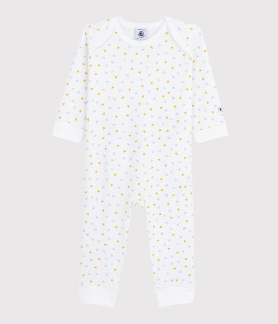 Babies' Confetti Pattern Popperless Cotton Sleepsuit Marshmallow white / Multico white