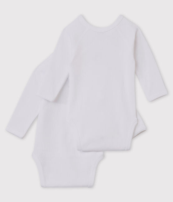Set of 2 babies' white long-sleeved newborn bodysuits . set