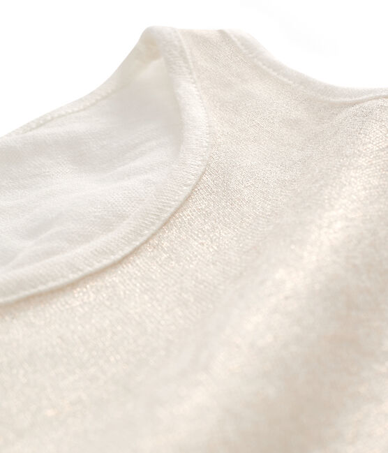 Women's iridescent linen sleeveless top Marshmallow white / Copper pink