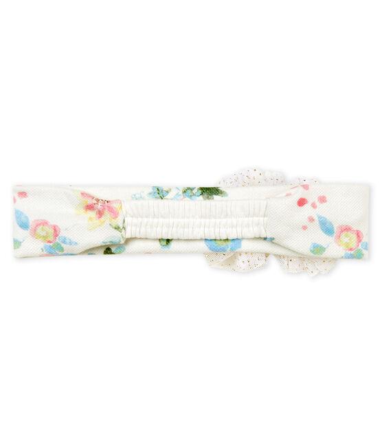 Baby girls' pompom headband Marshmallow white / Multico white
