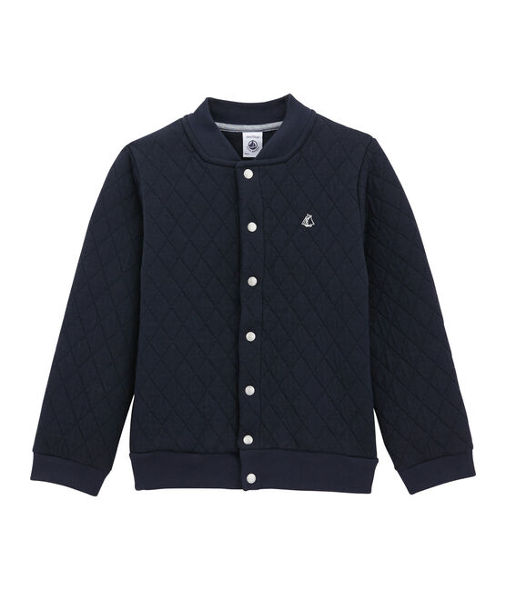Quilted double knit cardigan Smoking blue