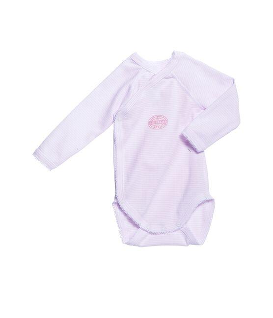 Newborn baby girl long-sleeve bodysuit in milleraies stripe Vienne pink / Ecume white