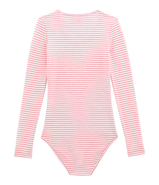 women's cotton and wool bodysuit Cheek pink / Marshmallow white