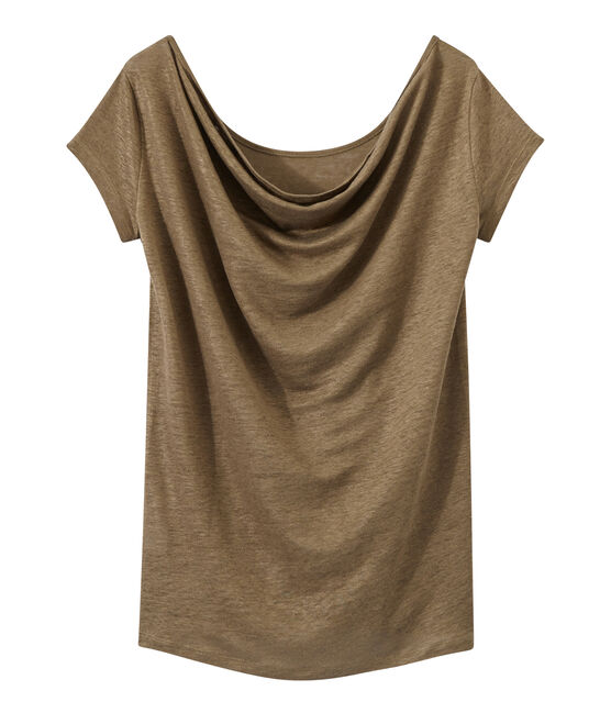 Women's iridescent linen tee with cowl neck at the back Shitake brown / Or yellow