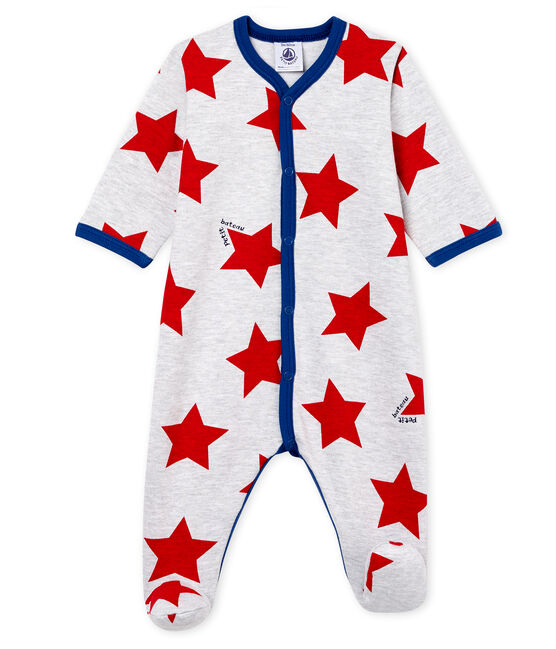 Baby Boys' Sleepsuit Poussiere grey / Multico white