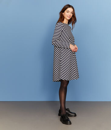 Women's Long-Sleeved Dress Smoking blue / Coquille beige