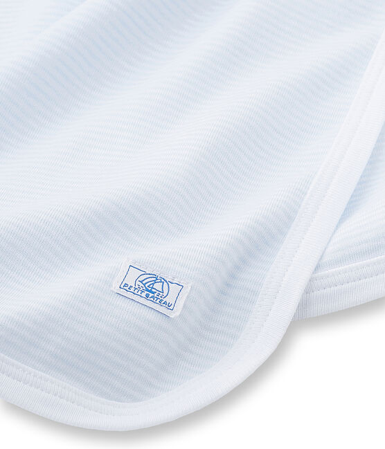 Baby's unisex milleraies-striped sheet Fraicheur blue / Ecume white