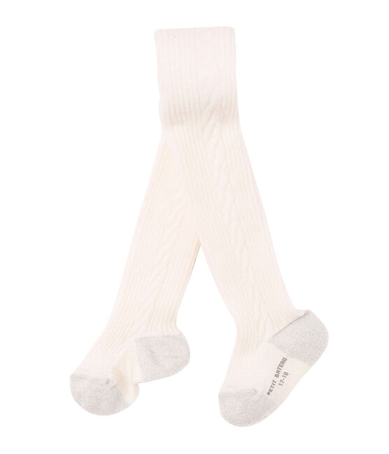Girl's wool blend tights Coquille beige