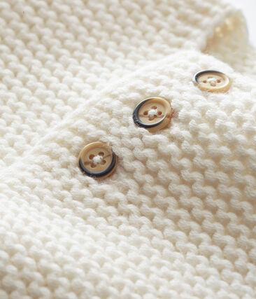 unisex baby's garter stitch cardigan Marshmallow white