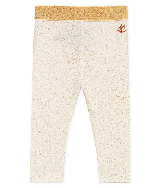 Baby girls' glittery leggings Marshmallow white / Copper pink