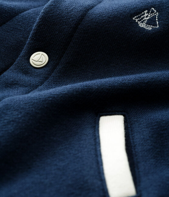 Baby boys' cardigan Haddock blue / Multico white