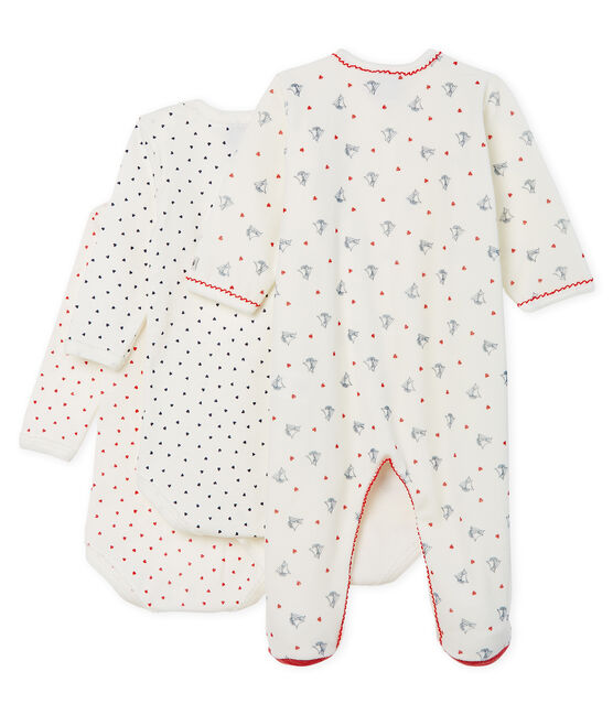 Baby Girls' Sleepsuit Set - Velour Sleepsuit and Long-Sleeved Ribbed Bodysuits . set