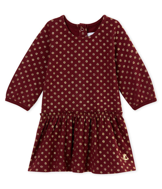 Baby girl's dress with gold polka dot print Ogre red / Dore yellow