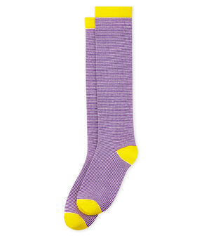 Women's knee-high socks Marshmallow white / Real purple