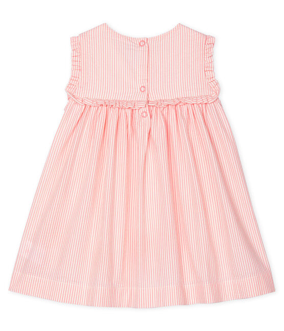 Baby Girls' Sleeveless Striped Dress Marshmallow white / Rosako pink