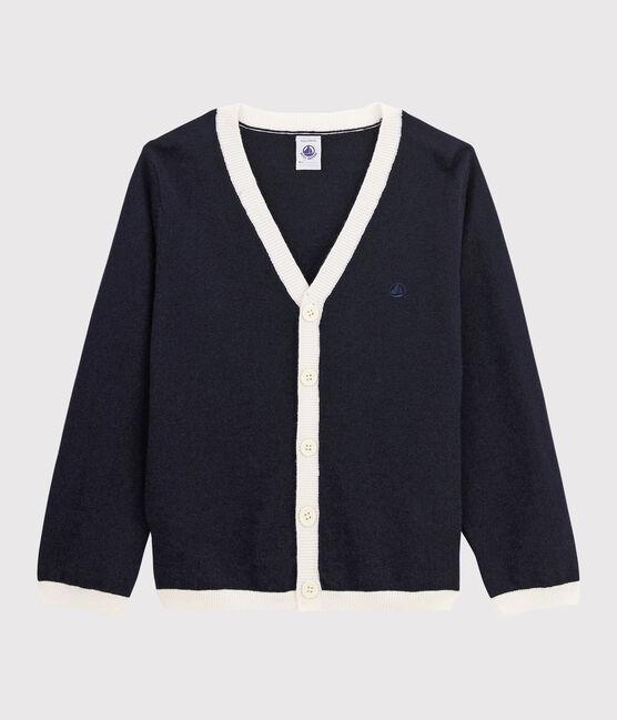 Boys' Cotton Cardigan Smoking blue / Marshmallow white