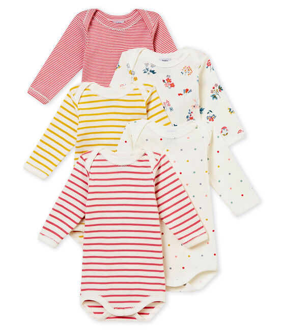 Set of 5 baby girl's long sleeved bodies . set