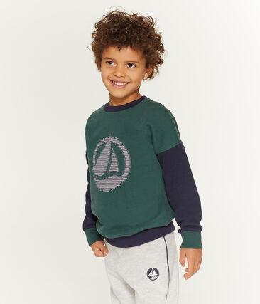 Boy's Sweatshirt Sousbois green / Smoking blue