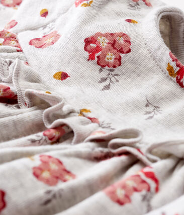 Baby Girls' Long-Sleeved Print Dress Beluga grey / Multico white
