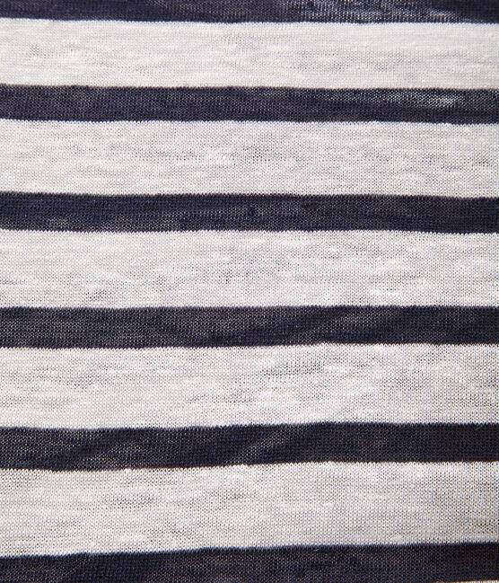 Women's linen sailor top Lait white / Smoking blue