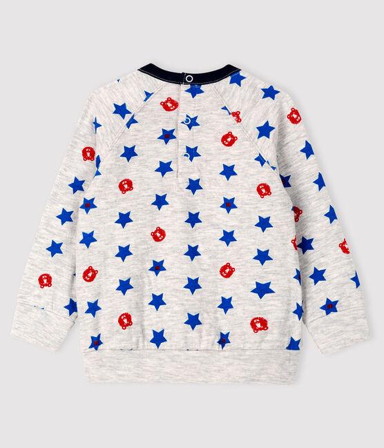 Baby boy's tubular knit sweatshirt Beluga grey / Multico white