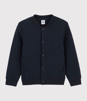 Boys' Tube Knit Baseball Jacket Style Cardigan Smoking blue