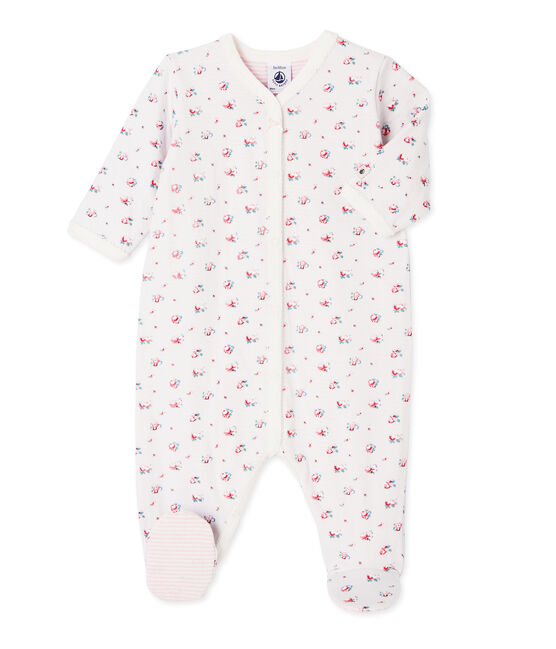Baby girl's printed tube knit sleeper Bocal blue / Multico white