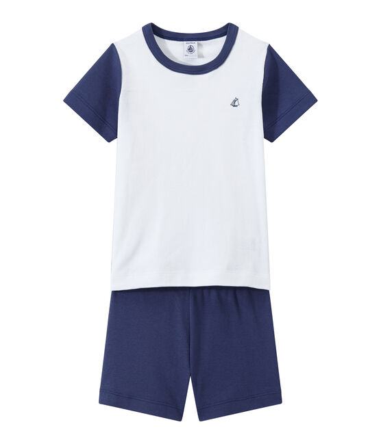Boy's two-color shortie pyjamas Chaloupe blue / Ecume white