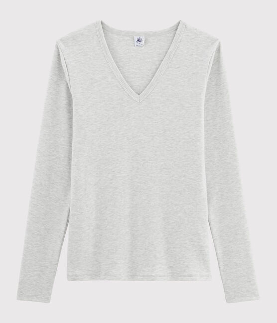 Women's iconic V-neck T-shirt Beluga grey