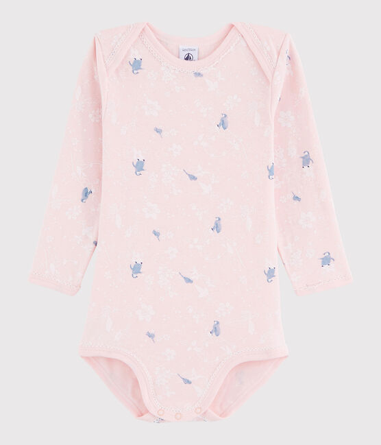 Baby Girls' Long-Sleeved Bodysuit Minois pink / Multico white