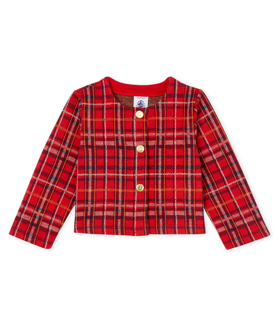 Baby Girls' Checked Cardigan Terkuit red / Multico white
