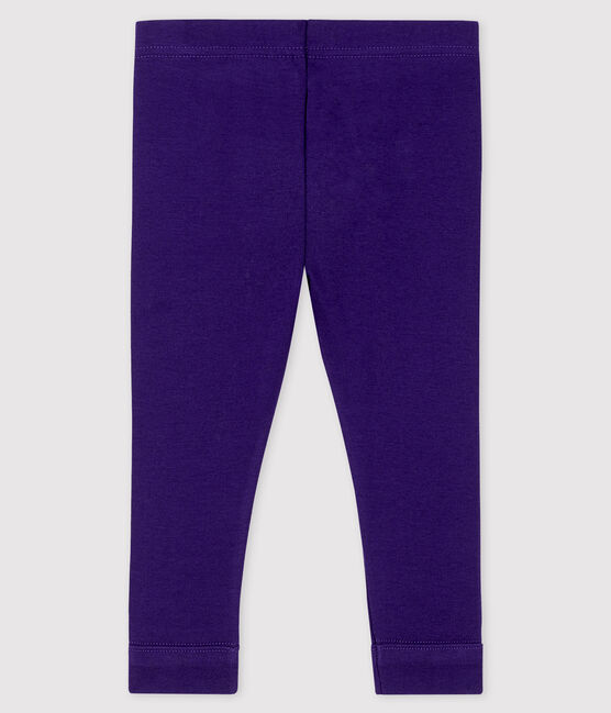 Baby girl's leggings in plain 1x1 rib knit ROXO