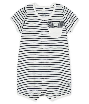 Baby Girls' Rib Knit Playsuit Marshmallow white / Smoking blue